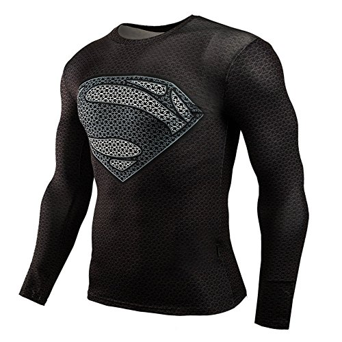 (Cool Mens Slim Fit Compression Shirt Tights Fitness Super Hero Runging Tee M)
