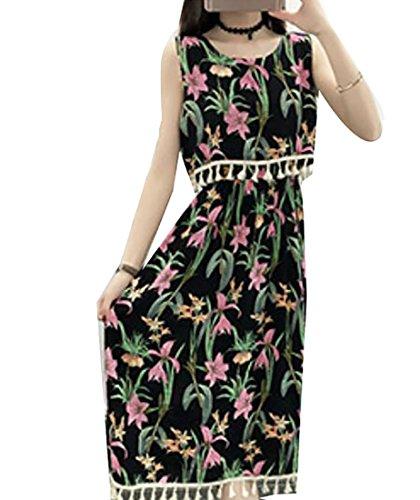 Dress Printed 21 s Sleeveless Tassel Women Jaycargogo Maxi Women Jaycargogo xnw81