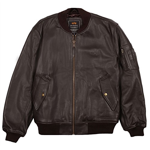 Alpha Industries Men's Leather MA-1 Bomber Jacket, Brown, (Alpha Ma 1 Leather Flight)