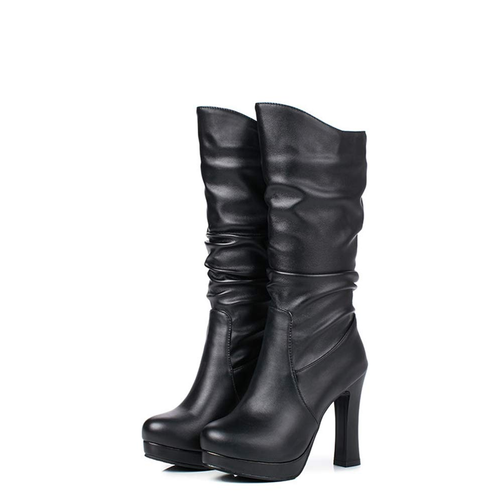 418089cf26c2b Amazon.com: DETAWIN Women Platform Mid Calf Boots PU Soft Leather ...