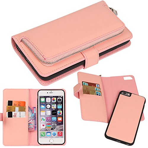 DRUnKQUEEn iPhone 6s Case, iPhone 6 Case, Premium Slim Wallet Zipper Clutch Leather Credit Card Holder Feature Purse Flip Type Removable Case - Detachable Magnetic Back Cover for iPhone6s / iPhone6