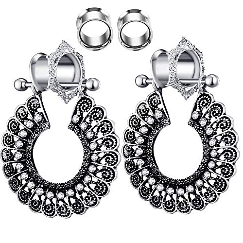 Dangle Woman Ear Tunnels 2 Pairs Double Flare Stainless Steel Stretcher Plugs Gauges (10mm=00g)