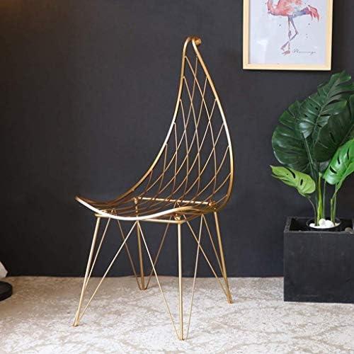 7 Tabouret de Bar chaises de Bar en Fer forgé avec Dossier doré, Chaise de Salle à Manger Moderne en Fil de métal – Or/Forme de Feuille avec dossiers, accoudoirs et Repose-Pieds