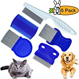 GNAWRISHING Flea Comb 5Pcs with High Strength Teeth Durable Pet Tear Stain Remover Combs, Pet Dog Cat Grooming Comb Set Effective Float Hair Remover...