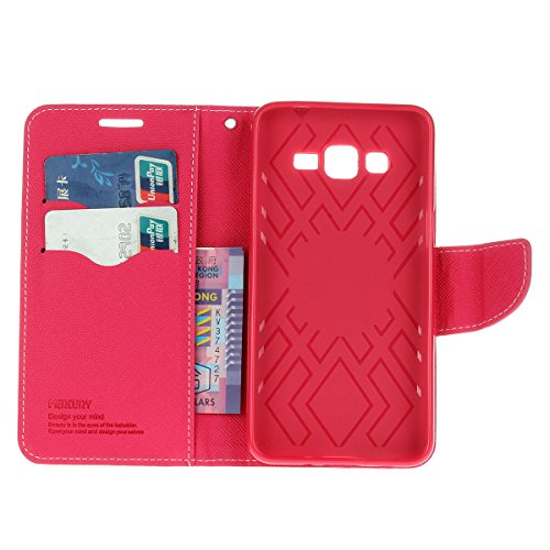 Galaxy Grand Prime funda,COOLKE Dos Colores Funda Carcasa Cuero Tapa Case Cover Para Samsung Galaxy Grand Prime - púrpura Rosa