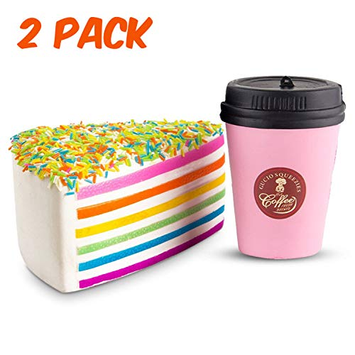 WATINC Jumbo 2pcs Squishies coffee cup&Rainbow cake Slow Rising Squishies Sweet Scented Kid Toy Hand ,Stress Relief Toy Lovely?Toy Large(cup&pink ice cream)