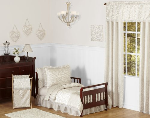 - Champagne and Ivory Victoria Toddler 5 Piece Girl Bedding Set