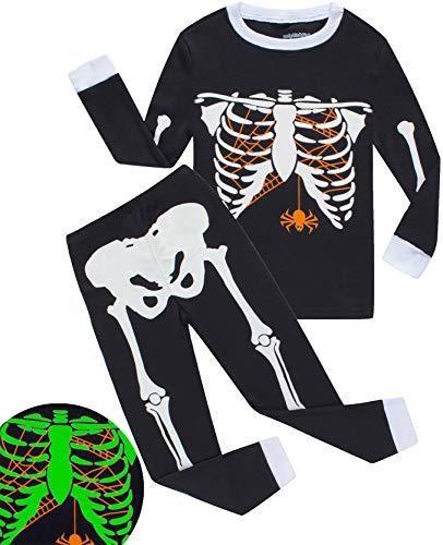 Boys Halloween Pajamas Skeleton-Glow-in-The-Dark Toddler Pjs Kids Clothes Shirts Size 4T