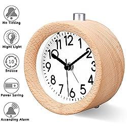 Bashley Digital Wooden Clock,Small Silent Desk Snooze Handmade Wood Alarm Clock, Mute Creative Alarm Clock with Nightlight