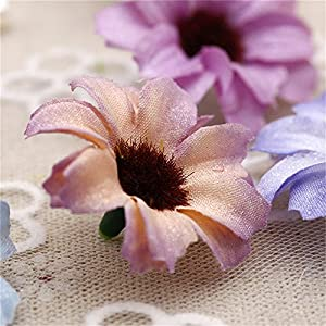 Silk Artificial Flowers Fake Flower Heads in Bulk Wholesale for Crafts Shiny Daisy Head Wedding Home Decoration Party Decor DIY Scrapbooking Chrysanthemum Accessories 50pcs 4
