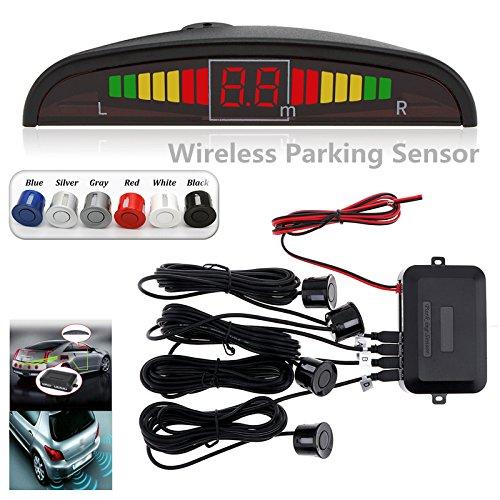 (ePathChina LED Display Car Reverse Backup Radar with 4 Parking Sensors Car Parking Radar Monitor Detector System Back Light Display (Gray))
