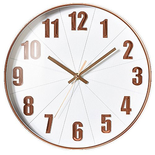 G-Kgagze 12'' Silent Non Ticking Quartz Battery Operated Wall Clock with Easy to Read 3D Stereo Numbers Decorative for Home Office Living Room Kitchen (White & Rose Gold)
