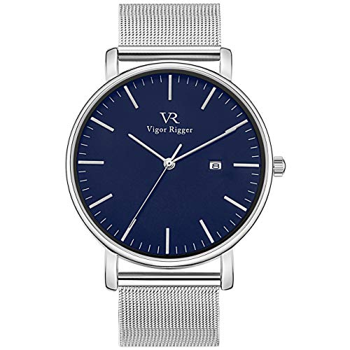 Vigor Rigger Men's Fashion Slim Quartz Date Wrist Watch with Leather & Mesh Band (Blue-Silver)