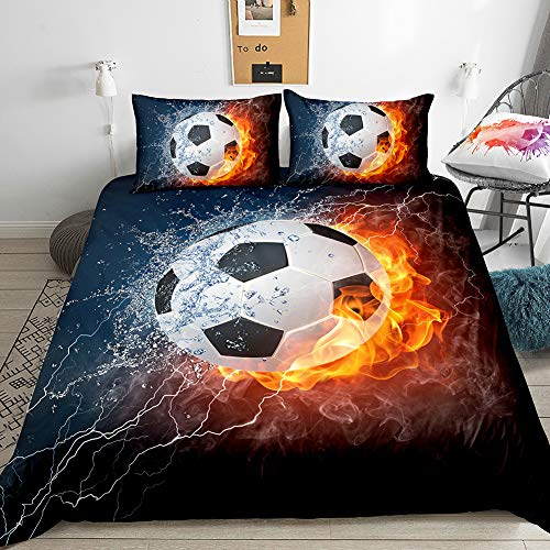 Merryword Soccer Bedding Sports Duvet Cover Set Football Flame Ice Design Black Kids Football Bedding Sets Queen 1 Duvet Cover 2 Pillowcases (Soccer)