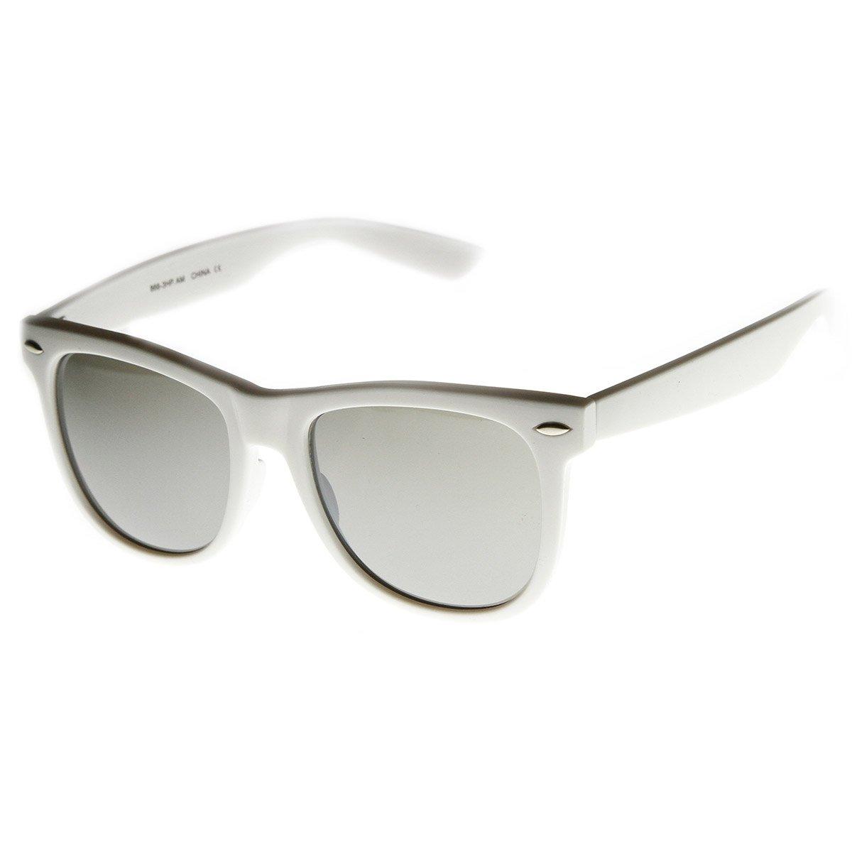 Large Mod Frame Mirrored Lens Retro Horn Rimmed Sunglasses White