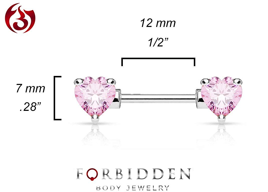 Cubic Zirconia Crystal Double Heart Nipple Barbells 12-16mm Forbidden Body Jewelry Pair of Surgical Steel 1//2-5//8 Inch