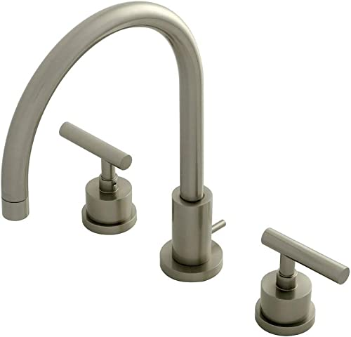 Kingston Brass KS8928CML Manhattan 8-Inch Widespread Lavatory Faucet with Brass Pop-up, Brushed Nickel