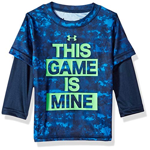 Under Armour Boys' Baby Long Sleeve Slider Tee Shirt, Blue Circuit Game 24M]()