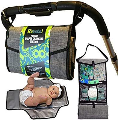 Rebebel Portable Changing Pad Clutch with Convertible Shoulder/Stroller Straps and Pockets for Wipes & Diapers - a Complete Compact Baby Diapering Station for Everyday and Travel