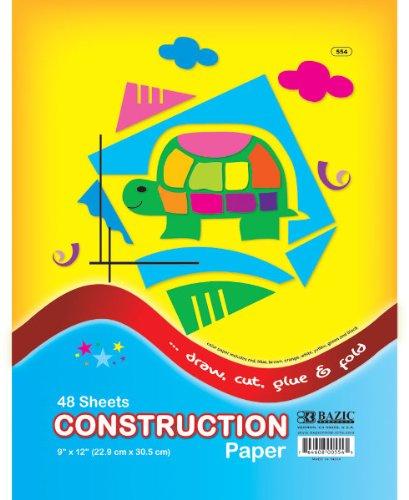Bazic 48 Count 9'' x 12'' Construction Paper 48 pcs sku# 347046MA