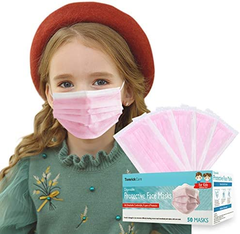 50 PCS Kids Disposable Face Mask Individually Wrapped