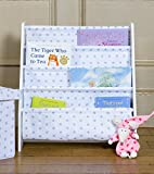 Children's Patterned Sling Bookcase, White with Grey Stars