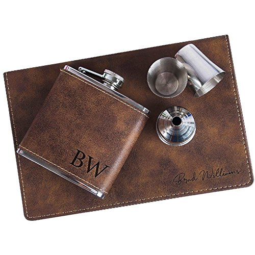 Personalized 6oz Leatherette Flask Groomsmen Gift Set - 1 Count - Engraved Flask Groomsman Gifts Personalized Flask Groomsman Kit, Wedding Favor Customized Flask for Liquor | Rustic #2