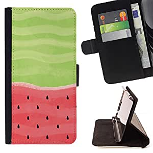 King Air - Premium PU Leather Wallet Case with Card Slots, Cash Compartment and Detachable Wrist Strap FOR Apple iPhone 5 5S- Fruits