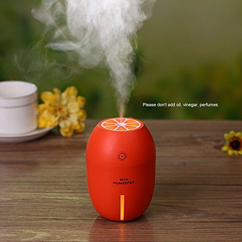 Mini Ultrasonic USB Humidifier Portable Lemon Style LED Night Light Ultral Quiet Air Purifier For Travel Office Home Car (Orange)