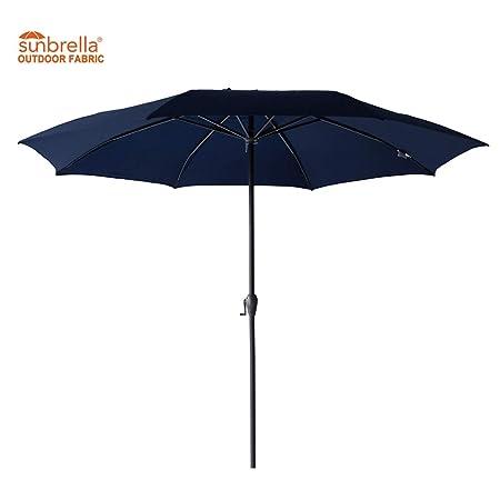 FLAME SHADE Fade Resistant Sunbrella 11 Round Patio Sun Shade Umbrella Crank Lift Fiberglass Rib Tips Navy Blue
