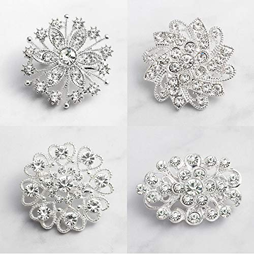 (4pcs Silver Rhinestone Flower Pearl Wedding Brooches Pins Set)