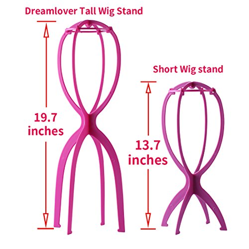 Dreamlover 2 Pack 19.7 Inches Portable Tall Wig Stands for All Wigs, Collapsible Wig Dryer, Durable Wig Display Tool, Travel Wig Stands (Hot Pink) by Dreamlover (Image #1)