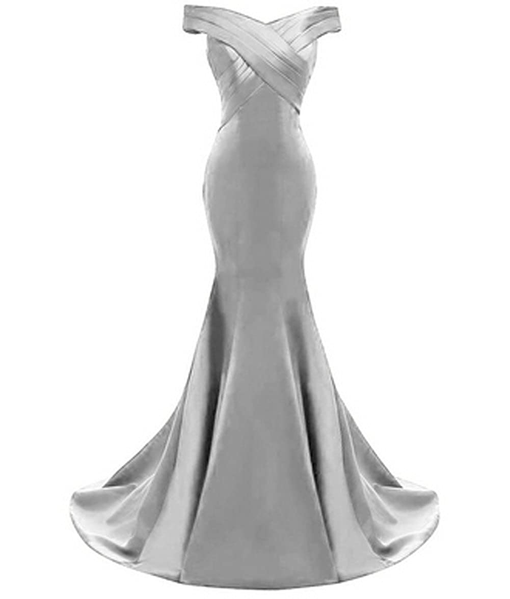Vickyben Womens Vintage Off Shoulder Ruffles Mermaid Formal Prom Dress Evening Dress Bridesmaid Dress Ball Gown