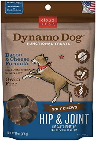 Cloud Star Dynamo Dog Hip & Joint Treats – Grain Free Hip Support with Glucosamine & Chondroitin (14 oz. Bacon Cheese)