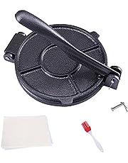 KNGKILQN Corn Tortilla Press Maker - 8 Inch Tortilla Maker Roti Maker Cast Iron Flour Press with FREE 50 Pieces Oil Paper