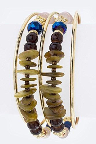 Chic Chelsea Precious Stone & Bead Layer Open Cuff (Bulk Wholesale Costume Jewelry Distributors)