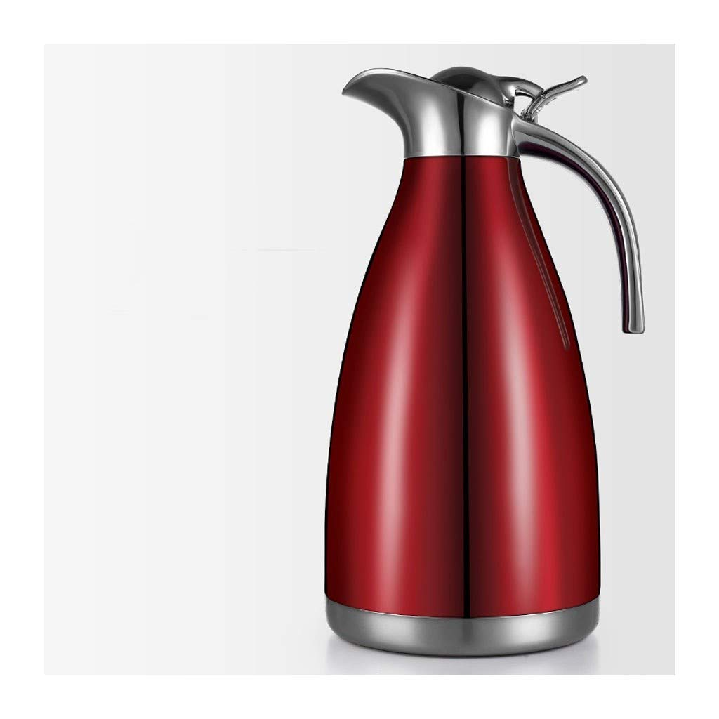 FYJK Water Pitcher with Lid Handle Large Capacity Household Stainless Steel Insulation Pot Warm Kettle Tea Bottle Thermos Coffee Tea Pot Kettle,Red by FYJK