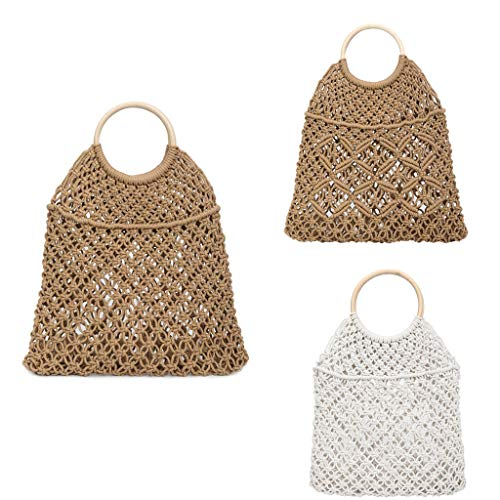 (DDKK bags Spring Deals!Fashion Summer Beach Bag, Women Straw Handbag Top Handle Big Capacity Travel Tote Purse- Wild Bucket Woven Solid Color Handbag)