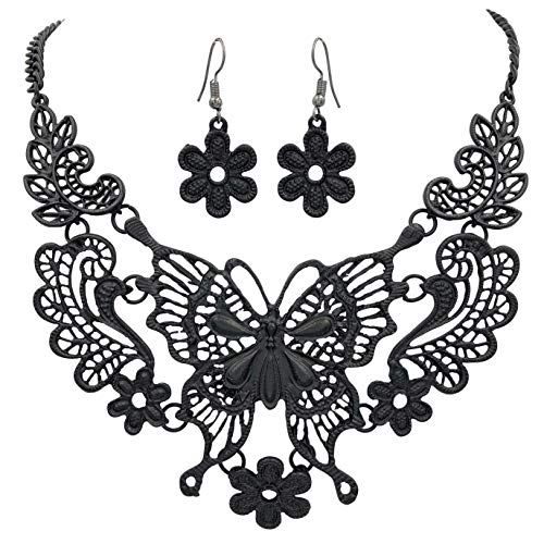 Gypsy Jewels Sweet Filigree Lace Look Boutique Statement Necklace - Assorted Colors (Black Butterfly)