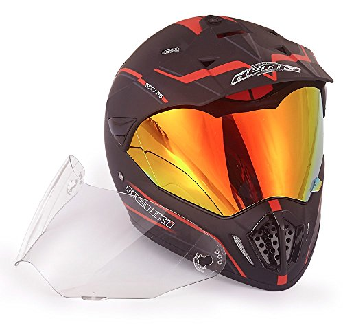 NENKI Dual Sport Helmet Full Face Motocross & Motorcycle Helmets Dot Approved Iridium Red Visor Attached Clear Visor NK-310 (XL, Matt Black & Red) by NENKI (Image #3)