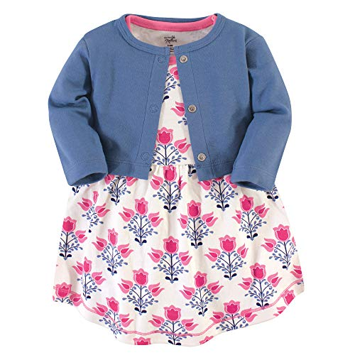 - Touched by Nature Girl Baby Organic Cotton Cardigan and Dress, Abstract Flower 2 Piece Set, 6-9 Months (9M)