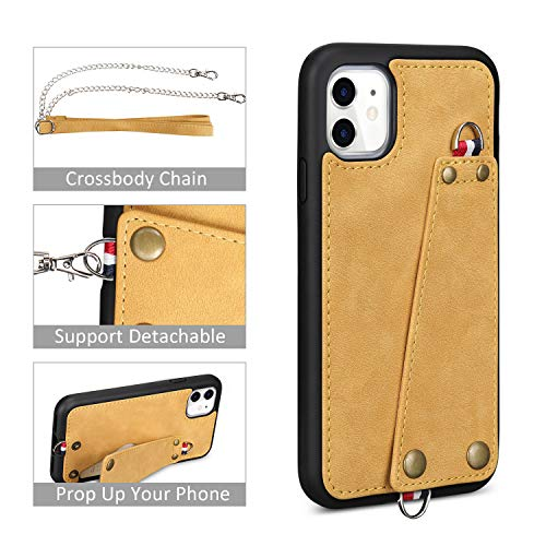 JISON21 iPhone 11 case with Lanyard,iPhone 11 Case Crossbody Chain with Credit Card Holder Slot Adjustable Detachable Strap Leather Case Cover for Apple iPhone 11 6.1 inch 2019