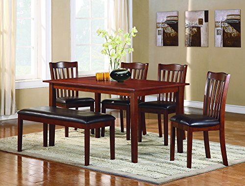 - Homelegance Schaffer 6 Piece Dining Table Set with Bench, Cherry