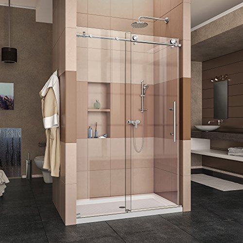 DreamLine Enigma-X 44-48 in. W x 76 in. H Fully Frameless Sliding Shower Door in Polished Stainless Steel, SHDR-61487610-08 (Polished Hardware Shower)