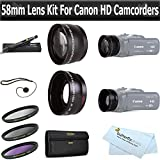 ButterflyPhoto 58mm 2x Telephoto and .45x Wide Angle Lens Kit + (3) Filters (UV-CPL-FLD) Accessories Kit For Canon VIXIA HF S21, HF S20, HF S200, HF S30 Dual Flash Memory Camcorder