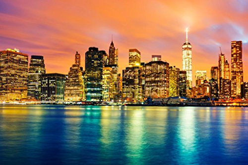 New York City NYC Manhattan Freedom Tower Skyline at Twilight Illuminated Reflecting in River Laminated Dry Erase Wall Poster 18x12 (Best School Districts In Manhattan Nyc)