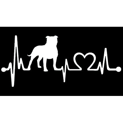 """Bluegrass Decals Pit Bull Non Cropped/Floppy Pitbull Heartbeat Lifeline Monitor Decal Sticker (White, 7.5""""): Automotive"""
