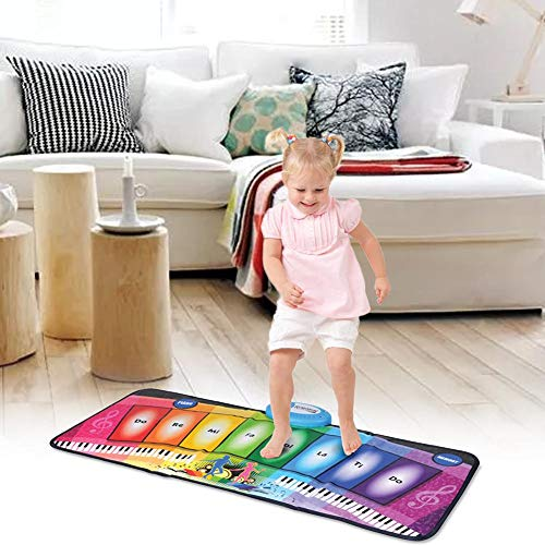 Depruies Kids Piano Musical Mats Music Dance Blanket Rainbow Piano Glowing Multifunctional Game Pad for Boys Girls Baby Early Education Toys by Depruies (Image #3)