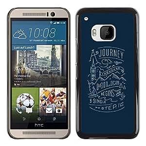 Caucho caso de Shell duro de la cubierta de accesorios de protección BY RAYDREAMMM - HTC One M9 - Blue Travel Inspiring