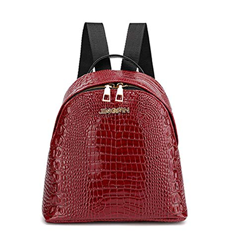 - Lx10tqy Retro Women Solid Color Crocodile Skin Backpack Faux Leather Small Shoulder Bag Wine Red